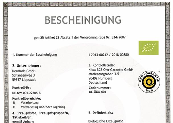 DERMARIS Bio-Zertifikat 2018